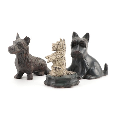 Cast Iron Dog Coin Bank and Door Stops,  Mid to Late 20th Century