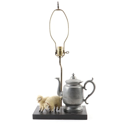 Mid-19th Century Sellew & Co Teapot with Flocked Sheep Mounted on Lamp Base