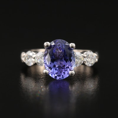 18K 1.88 CT Tanzanite and Diamond Ring