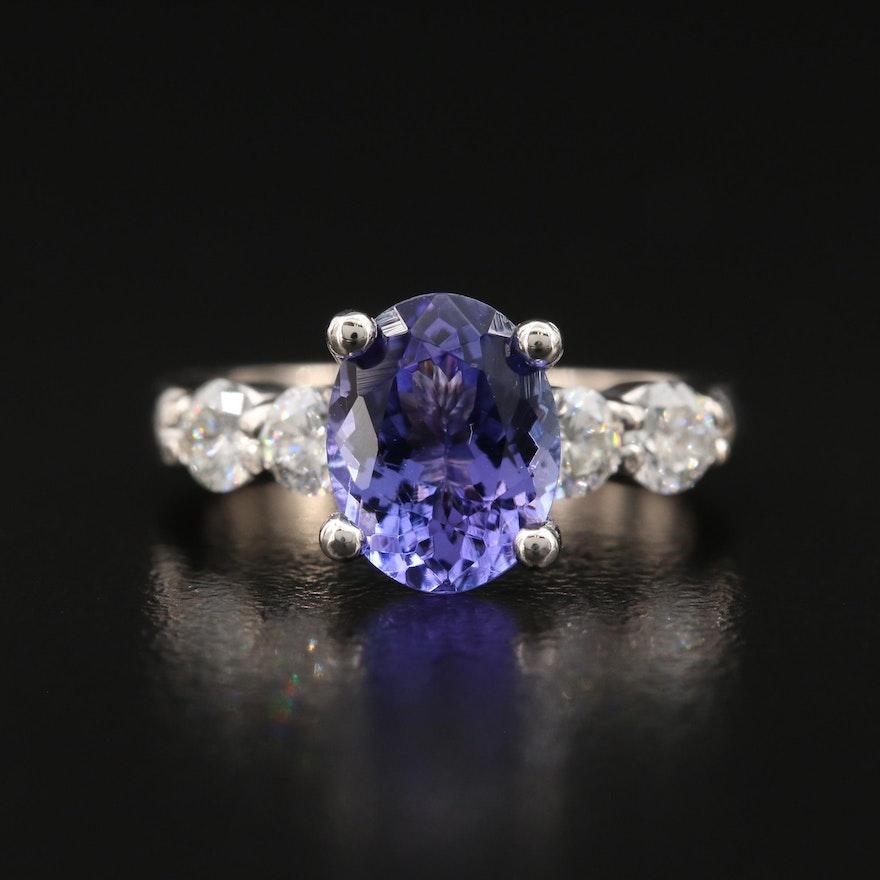 18K 1.88 CT Tanzanite and Diamond Ring