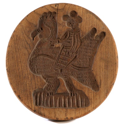 Springerle Carved Oak Cookie Mold, Late 19th/Early 20th Century