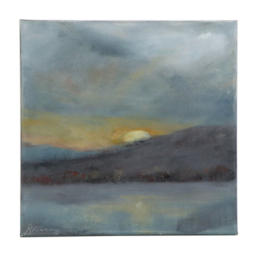 """Rebecca Manns Oil Painting """"Ending of a Gray Day,"""" 2020"""