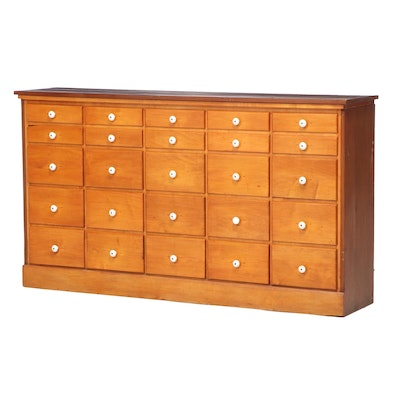 American Primitive Style Maple 25-Drawer Apothecary Cabinet, 20th Century
