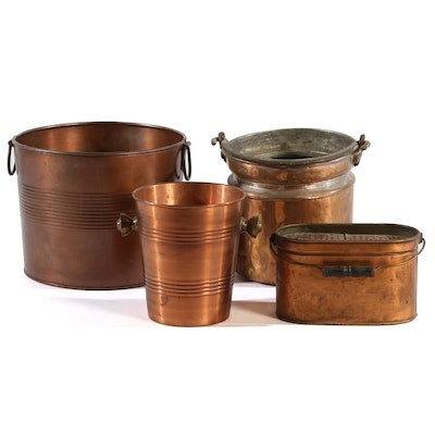 19th Century Minnow Bucket and Other Copper Buckets