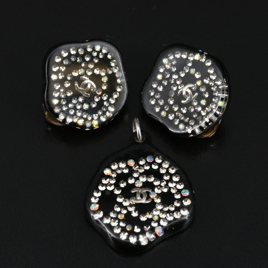 Chanel Rhinestone Earrings and Pendant Set with Box