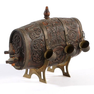 Carved Norwegian Miniature Keg with Six Brass Cups, Early to Mid 20th Century