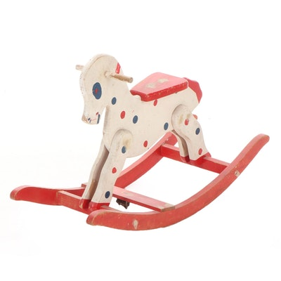 Fritzel Toys Wooden Polka Dot Rocking Horse, Mid-20th Century