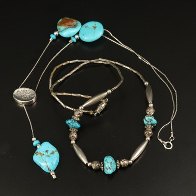 Ari Soffer Sterling Turquoise Drop Necklace with Beaded Necklace