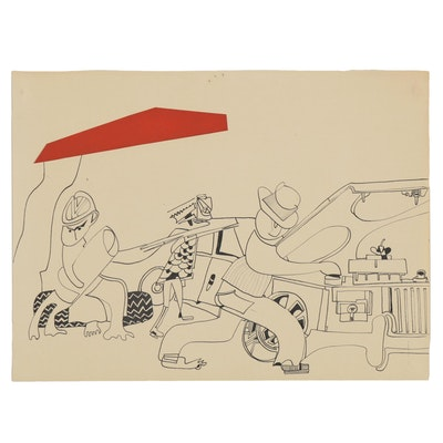 Eduardo Oliva Surrealist Paper Collage and Ink Drawing, Late 20th Century