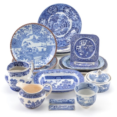 English and Other Blue Transferware Dinnerware and Tableware