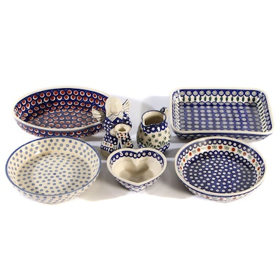 Boleslawiec Polish Pottery Dishes, Late 20th Century