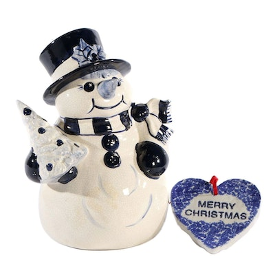 Glazed Ceramic Snowman Figure and Christmas Trivet