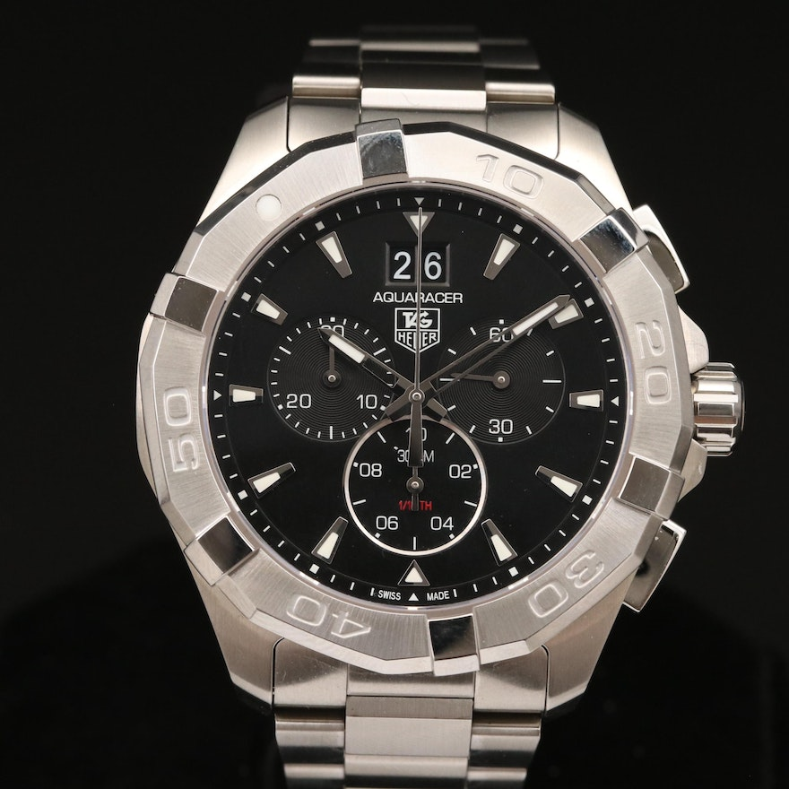 """TAG Heuer """"Aquaracer"""" Stainless Steel Wristwatch"""