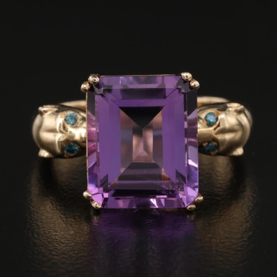 EFFY 14K Amethyst and Diamond Ring with Jaguar Detail