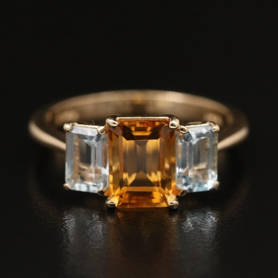 EFFY 14K Citrine and White Topaz Ring