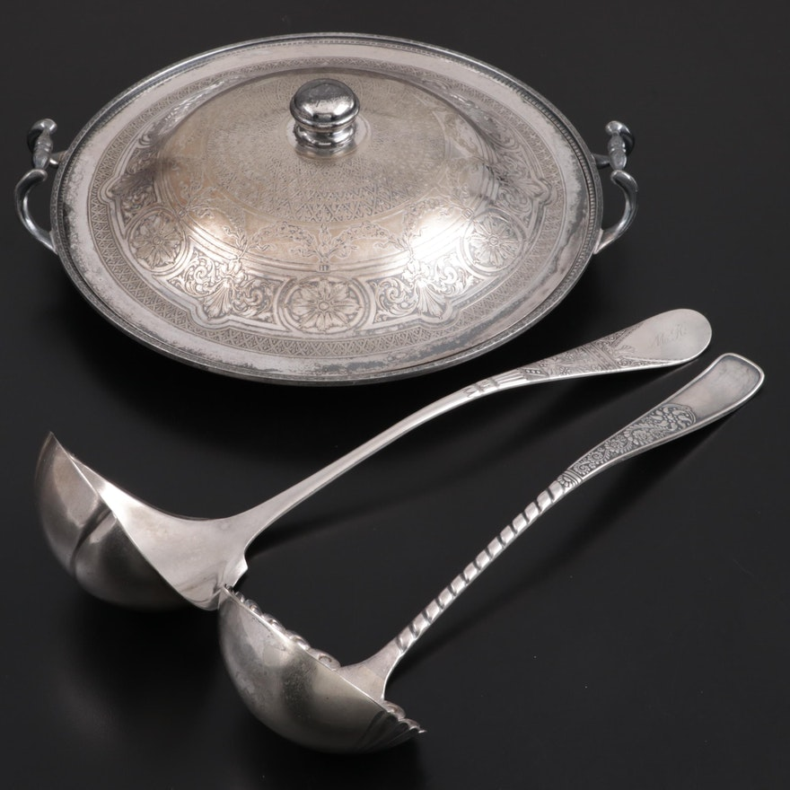 Weidlich Brothers Silver Plate Serving Platter with Silver Plate Ladles
