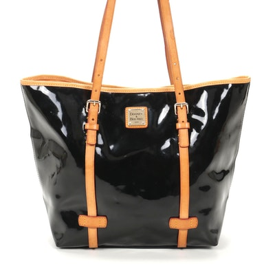 Dooney & Bourke Black Patent Leather Tote Bag with Natural Leather Trim