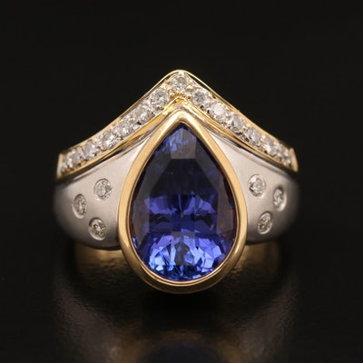 18K 4.40 CT Tanzanite and Diamond Ring