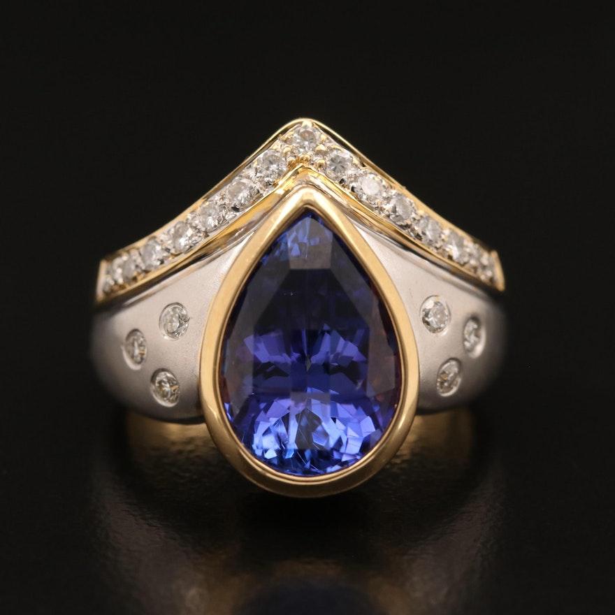 18K 4.40 CT Tanzanite and Diamond Ring