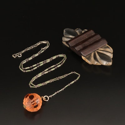 1940s Lucite and Wood Brooch and an Enameled Chain and Cut Glass Necklace