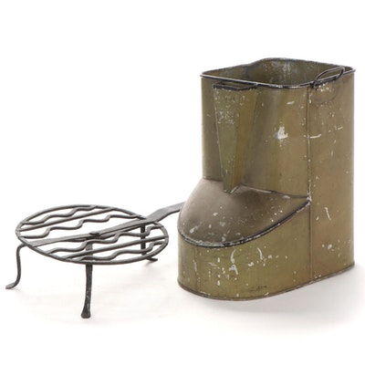 Wrought Iron Wheel Trivet and Tole Canister with Handles
