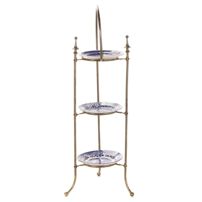 Brass Dumbwaiter Stand with Blue Transferware Plates