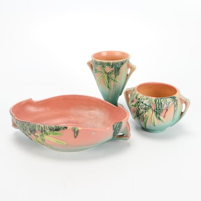 "Roseville Pottery ""Moss"" Vase, Rose Bowl and Console Bowl, 1930s"