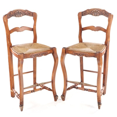 Pair of French Provincial Style Beech Counter-Height Bar Stools