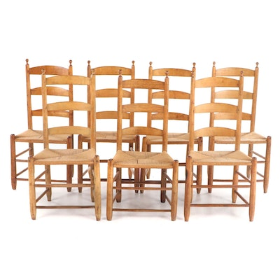 Seven American Primitive Ladderback Dining Side Chairs, 19th Century