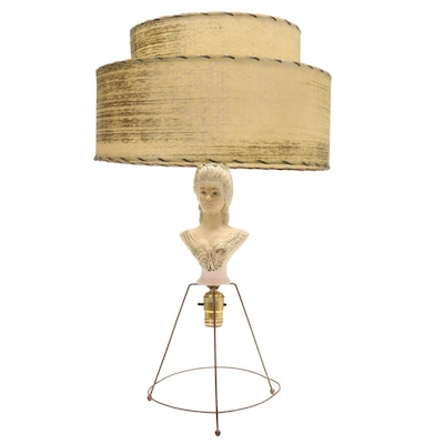 Lady Lamp Bust Table Lamp with Tiered Fiberglass Shade