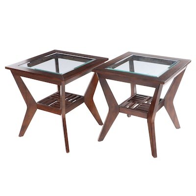 Pair of Contemporary Two-Tier Side Tables with Beveled Glass Tops