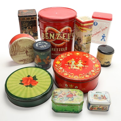 Food and Decorative Tin Canisters, Mid to Late 20th Century