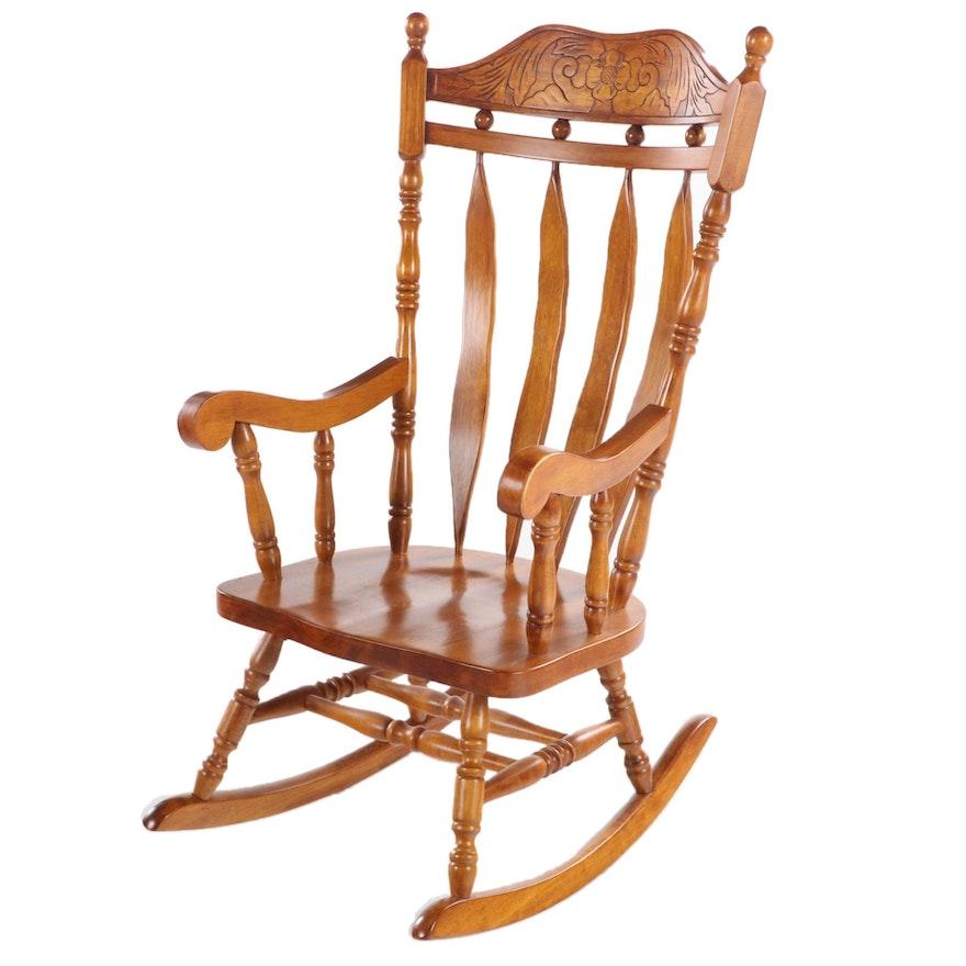 American Primitive Style Hardwood Spindle-Back Rocking Armchair