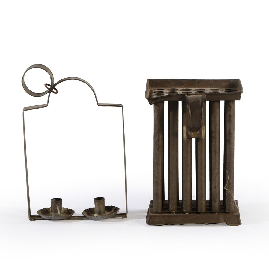 Primitive Tin Candle Mold and Lantern, Late 19th  to 20th Century