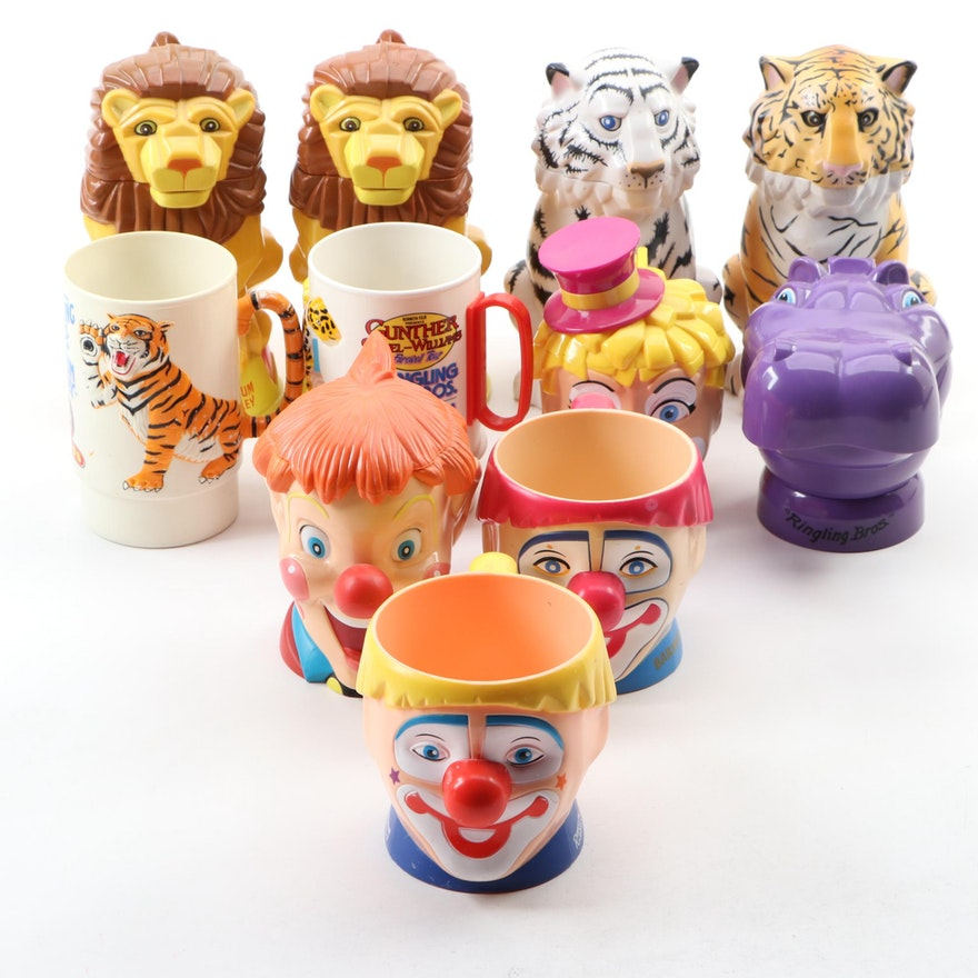 Ringling Brothers and Barnum & Bailey Circus Animal and Clown Souvenir Mugs