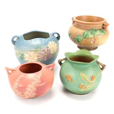 """Roseville Pottery """"Fuchsia"""" Jardinière with Other Rose Bowls, Mid-20th C."""