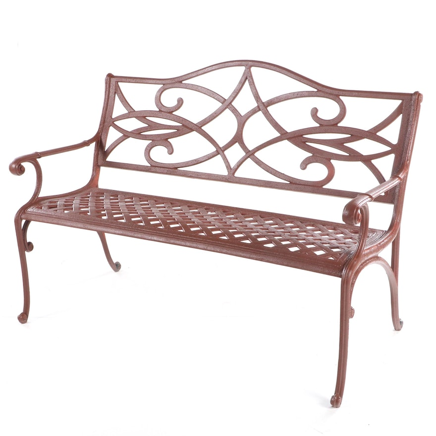 Contemporary Painted and Cast Aluminum Patio Bench
