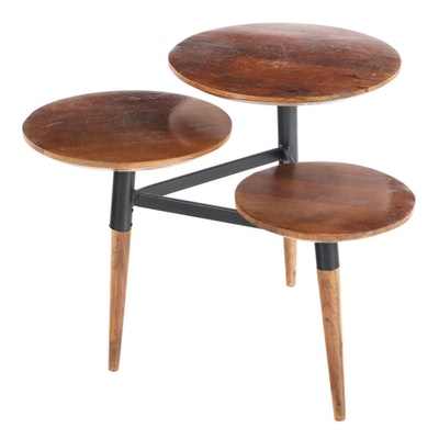 Modernist Style Metal-Mounted Hardwood Three-Tier Side Table