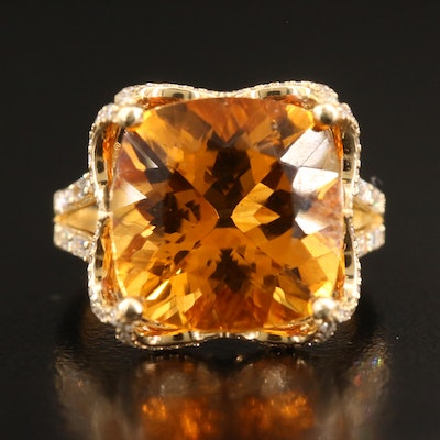 EFFY 14K 8.92 CT Citrine and Diamond Ring