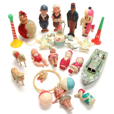 Vintage Celluloid Plastic Toys Including Clowns and More, Early/Mid 20th C