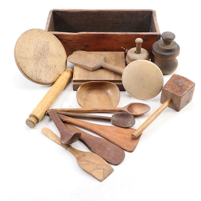 Wooden Molds and Other Kitchen Utensils in Dovetailed Box