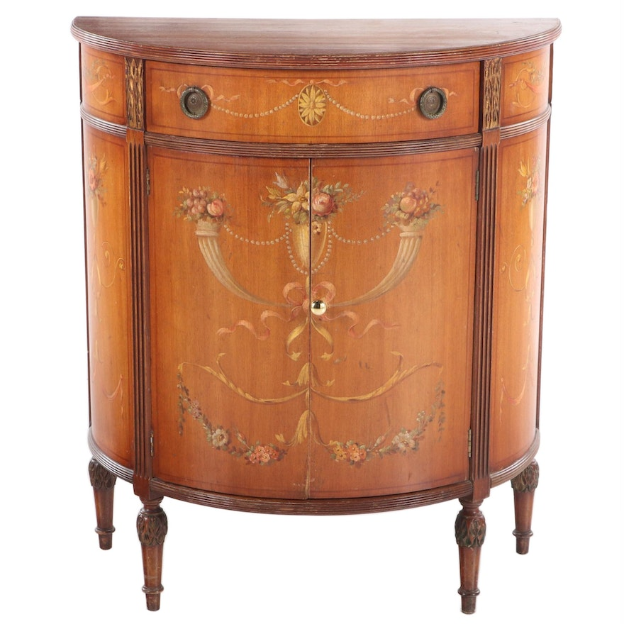 Adam Style Paint-Decorated and Parcel-Gilt Demilune Side Cabinet