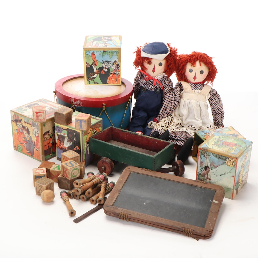 Rag Dolls, Letter Blocks, Nesting Boxes, and More Toys, Early/Mid 20th Century