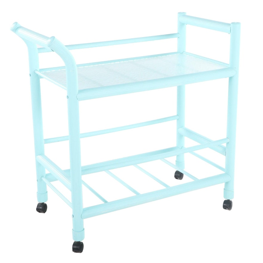 Modernist Tubular Plastic and Frosted Glass Top Serving Cart, Late 20th Century