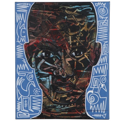 Abiola Idowu Abstract Portrait Mixed Media Painting, 2020