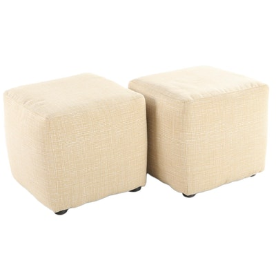 Pair of Ashley Furniture Modernist Style Upholstered Footstools