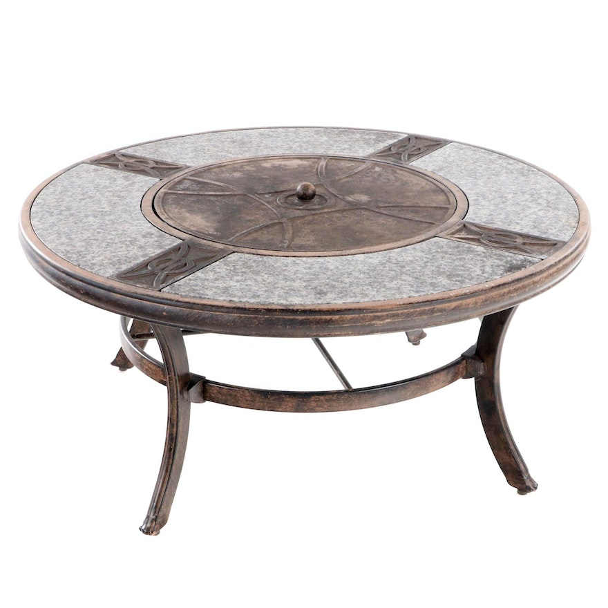 Contemporary Patinated Metal and Polished Granite Fire Pit Coffee Table