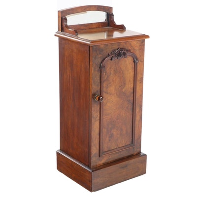 Victorian Walnut, Burl Walnut, and Mirror-Back Side Cabinet, Late 19th Century