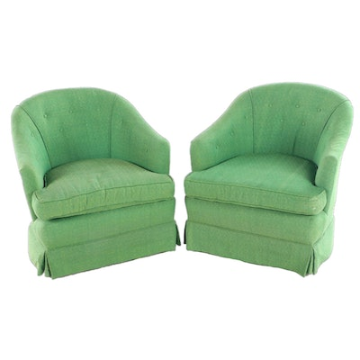 Pair of Shaw Mfg. Co. Modernist Button-Down Swivel Tub Chairs, circa 1970