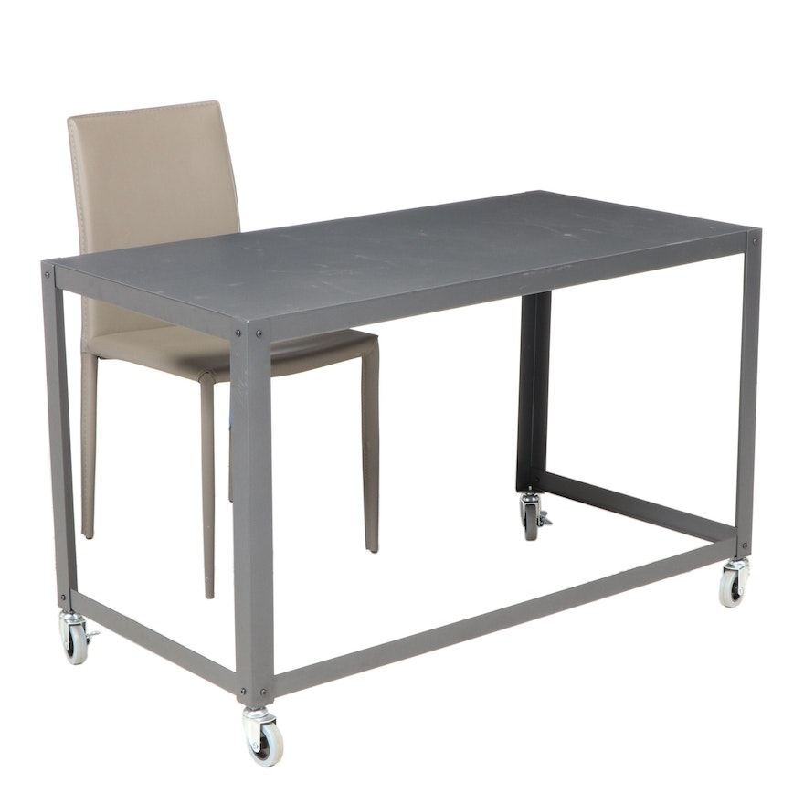 Industrial Style Metal Desk on Casters with Faux Leather Desk Chair